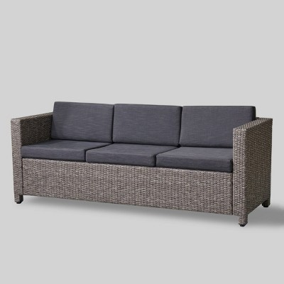 Puerta Wicker Patio Sofa - Black/Gray - Christopher Knight Home