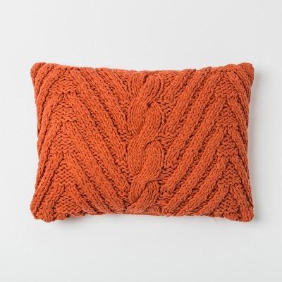 Chunky Knit Lumbar Throw Pillow Orange - Threshold™