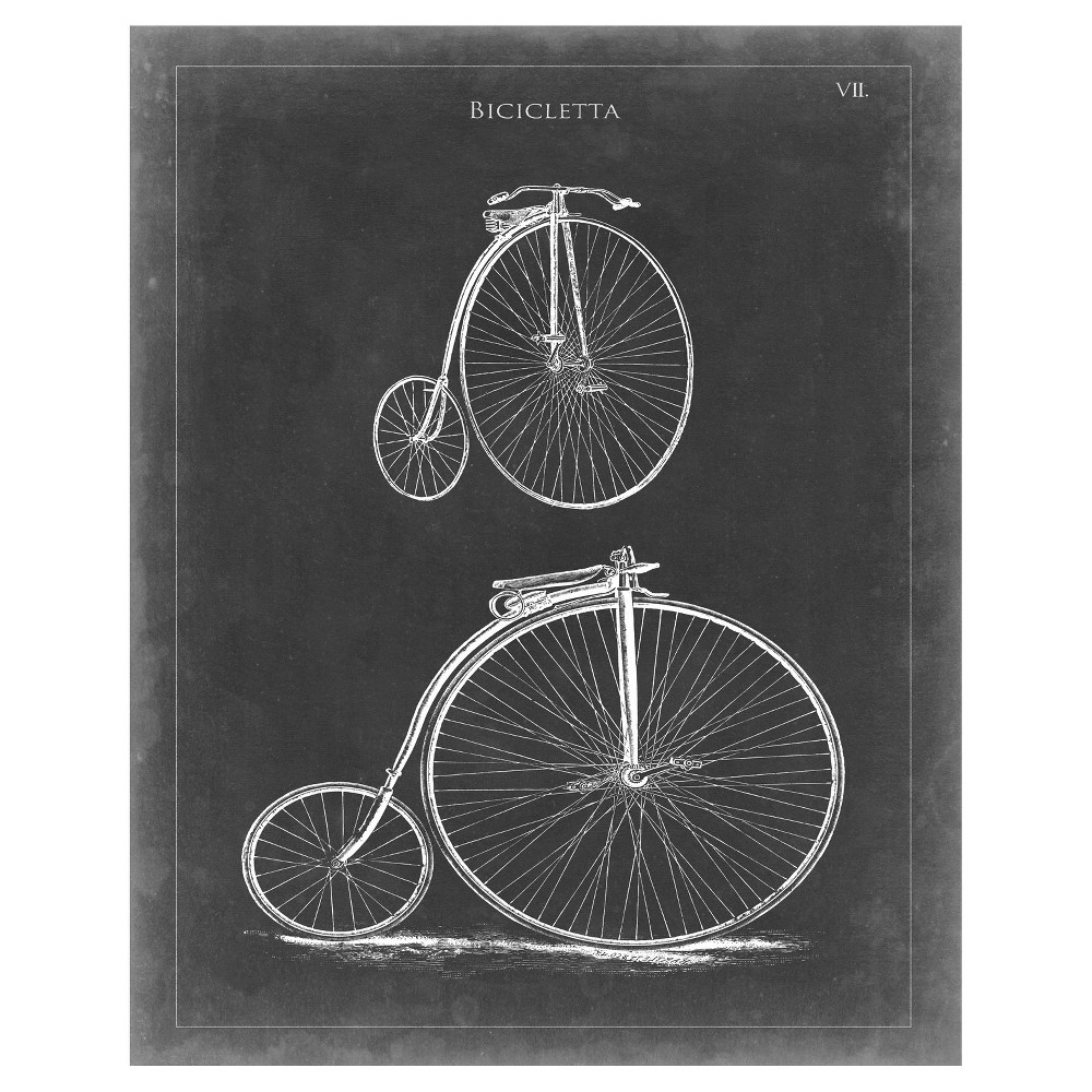 Vintage Bicycle II Unframed Wall Canvas Art - (24X30), Multi-Colored