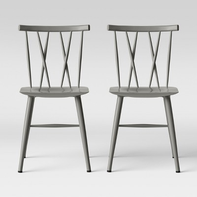 Set of 2 Becket Metal X Back Dining Chair Gray - Project 62™