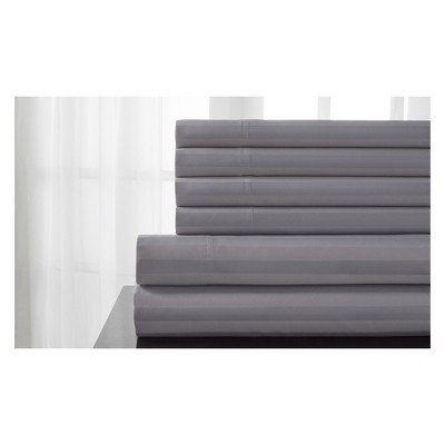 Delray Damask Stripe 600 Thread Count Cotton Sheet Set (Queen)Microchip - Elite Home Products