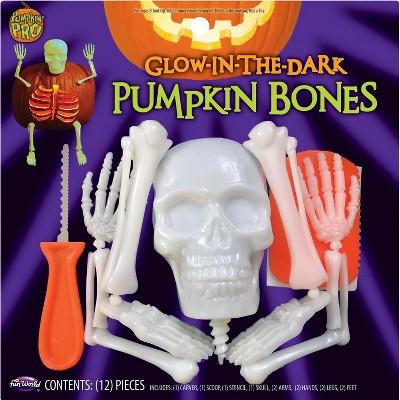 Halloween Glow In The Dark Skeleton Bones Pumpkin Carving & Decorating Kit