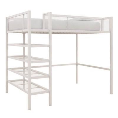 Tara Metal Storage Loft with Bookcase White - Room & Joy