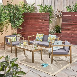 4pc Newbury Acacia Wood Patio Chat Set Gray - Christopher Knight Home