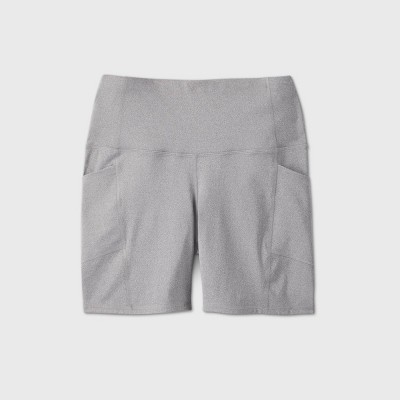 """Women's Plus Size High-Rise Contour Powerwaist Bike Shorts 7"""" - All in Motion™ Charcoal Heather 4X"""