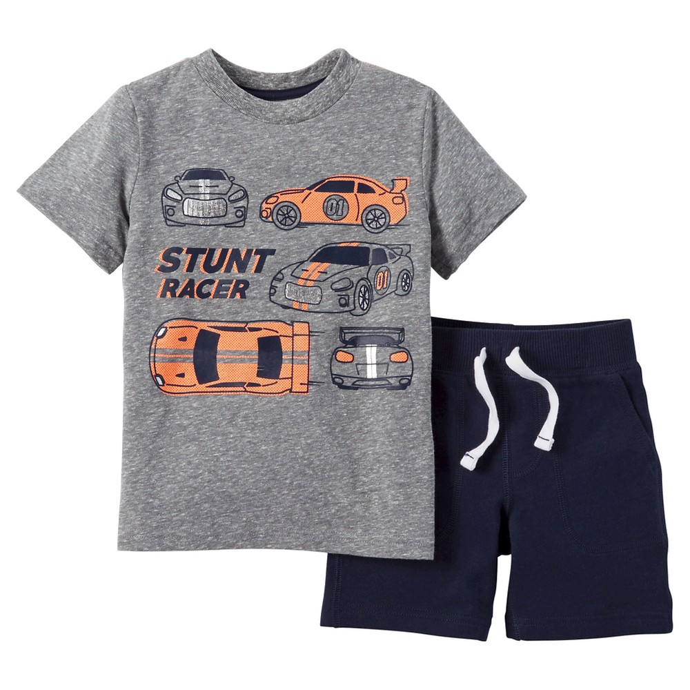Toddler Boys' 2pc Shorts Set - Just One You Made by Carter's Heather Gray/Orange Neon 3T
