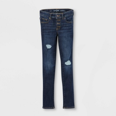 Girls' Distressed Lace Mid-Rise Jeans - Cat & Jack™ Dark Wash