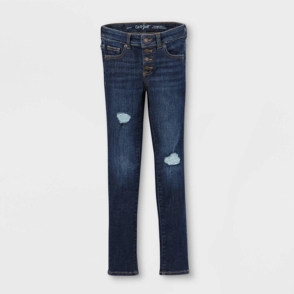Girls 39 Distressed Lace Mid Rise Jeans Cat 38 Jack 8482 Dark Wash 14 Plus