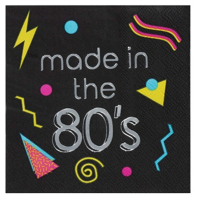 Juvale 80s Cocktail Napkins - 50-Pack Made in the 80s in Silver Foil Disposable Napkins, Black