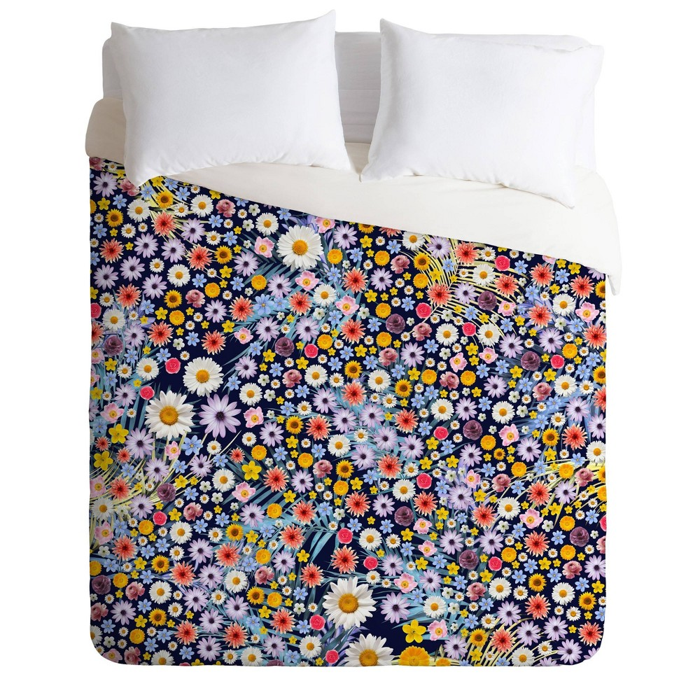 Image of Twin/Extra Long Twin Iveta Abolina Flower Power Duvet Set Blue - Deny Designs