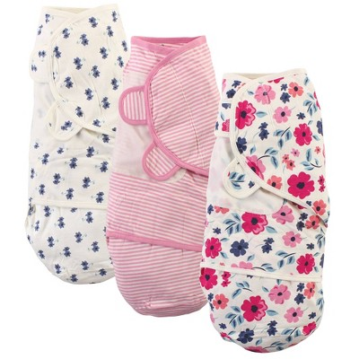 Touched by Nature Unisex Baby Organic Cotton Swaddle Wraps - Garden Floral 0-3 Months
