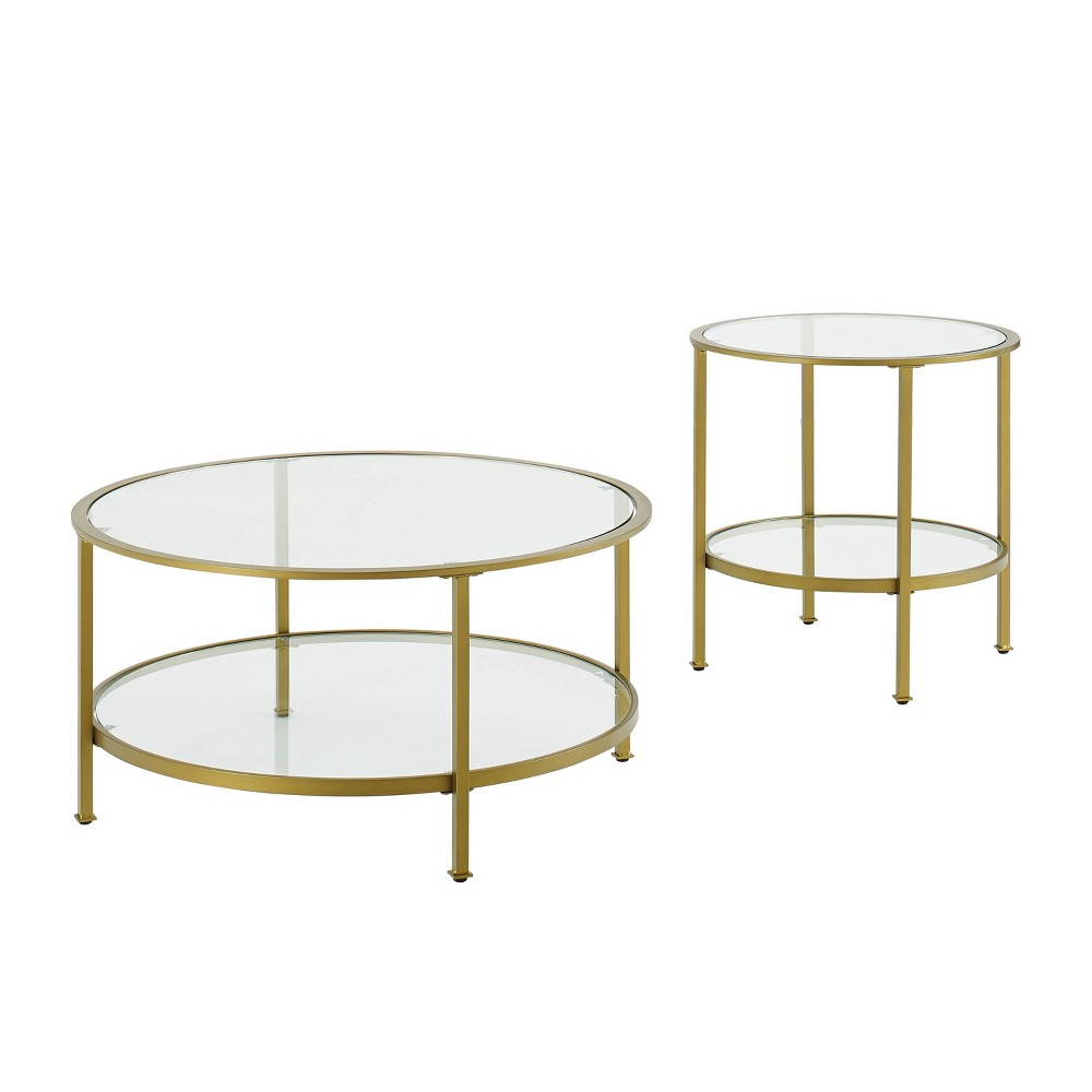 Image of 2pc Aimee Accent Table Set Gold - Crosley