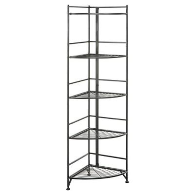 "58"" 5 Tier Folding Metal Corner Shelf Black - Breighton Home"
