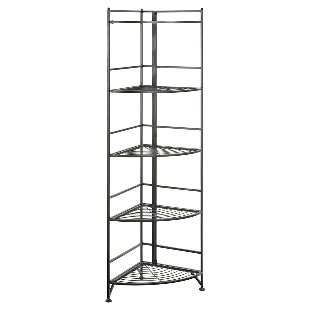 "58"" 5 Tier Folding Metal Corner Shelf - Johar Furniture, Black"