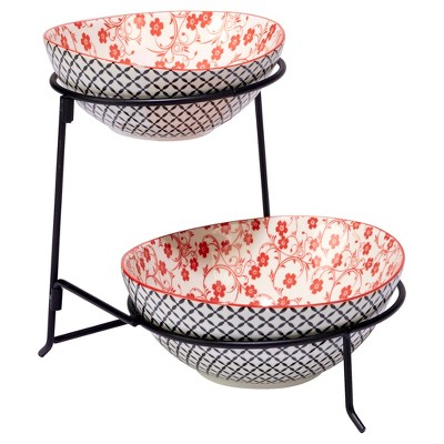 Certified International® Chelsea Mix & Match Porcelain and Metal 2-Tier Server with Oval Bowls Red