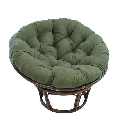 "42"" Rattan Papasan Chair with Micro Suede Cushion Hunter Green - International Caravan"