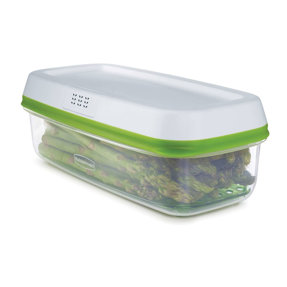 Rubbermaid 8.4cup Freshworks Produce Saver Food Storage Container Green, Green Clear