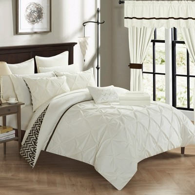 Chick Home Watson Chevron Ruffled Pinch Pleated Bedding Set Comforter Sheets Window Treatments Pillows & Sham - Beige