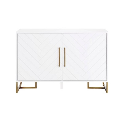 Herringbone Console Unit White - CosmoLiving by Cosmopolitan