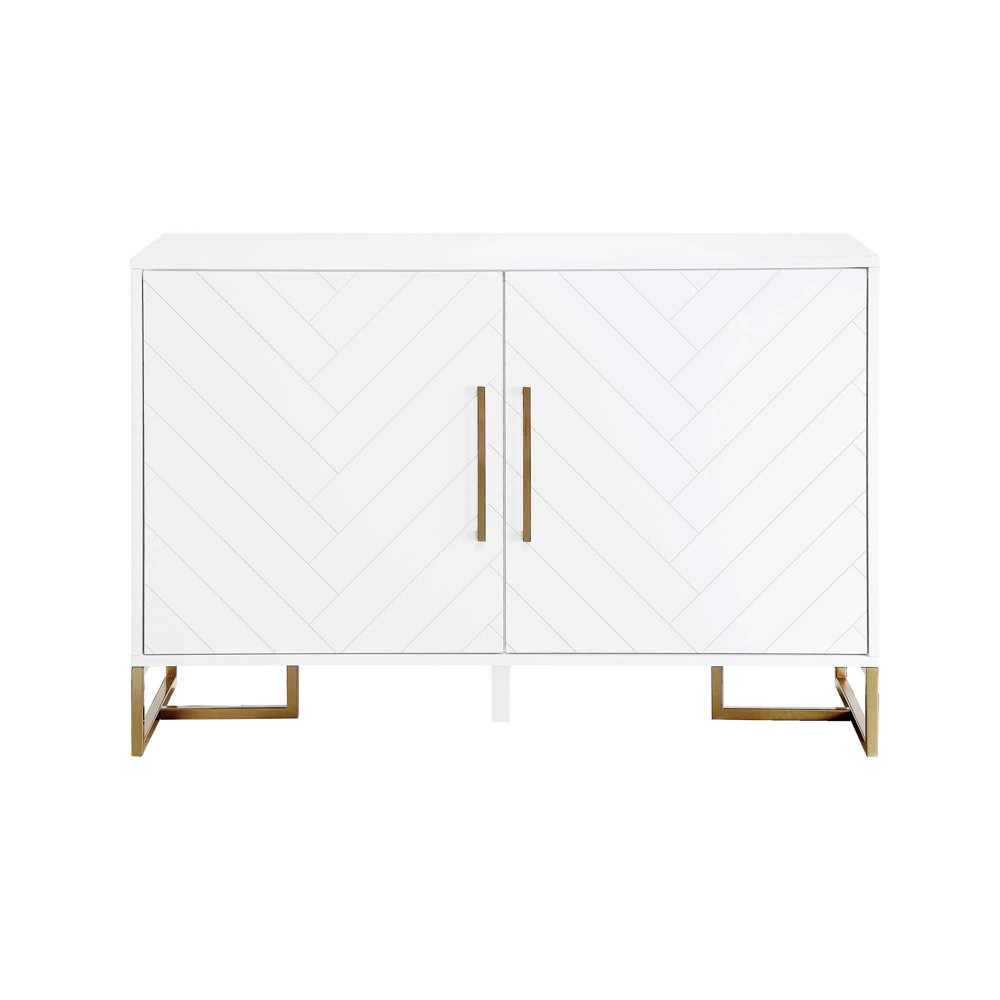 Image of Herringbone Console Unit White - CosmoLiving by Cosmopolitan