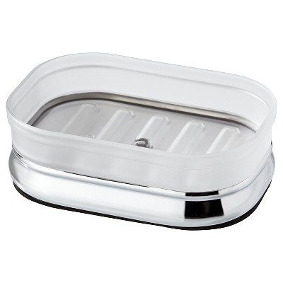 InterDesign Gina Chrome Ribbed Frost Soap Dish - Clear