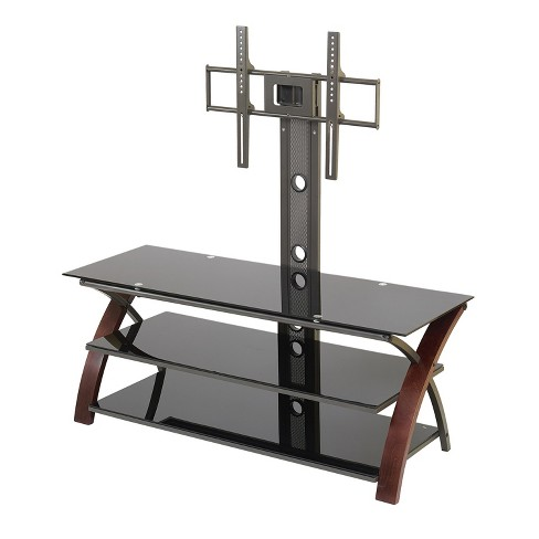 55 Tv Stand With Back Post Mount Espresso Black Glass