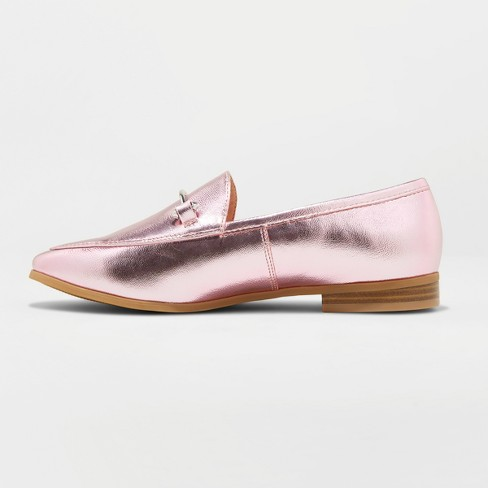 4290638569f4 Women s Perry Wide Width Metallic Loafers - A New Day™ Pink 6W   Target