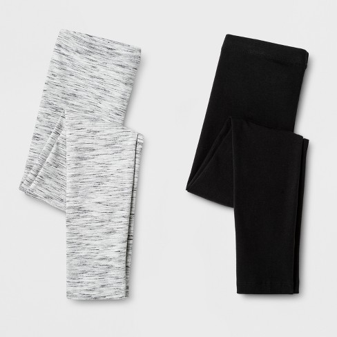 Girls' 2pk Leggings - Cat & Jack™ Black & Heather Gray - image 1 of 1