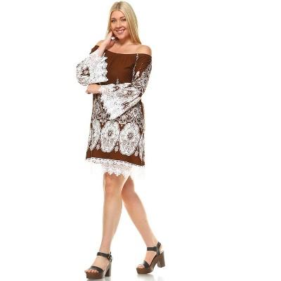Women's Plus Size Bell Sleeve Lace Hemline Mya Dress - White Mark