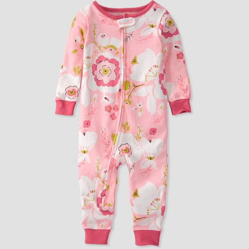 Toddler Girls' Organic Cotton Floral Sleep N' Play - little planet by carter's Pink - image 1 of 3