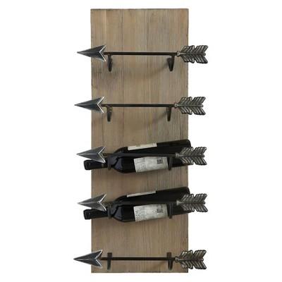 Wood Frame with Metal Arrow Wine Holder - 3R Studios