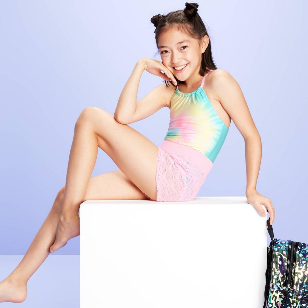 Image of Girls' Mermaid Kisses One Piece Shorts Swimsuit Set - More Than Magic Pink M, Girl's, Size: Medium