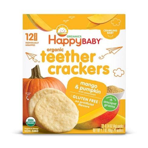HappyBaby Mango & Pumpkin Organic Teether Crackers - 12ct/0.14oz Each - image 1 of 3