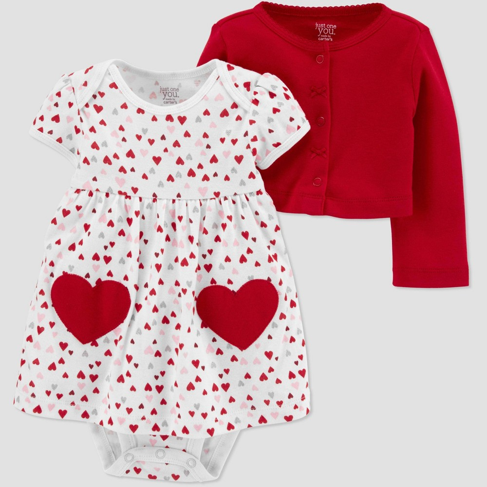 Image of Baby Girls' 2pc Dress-Cardi Set - Just One You made by carter's White 12M, Girl's