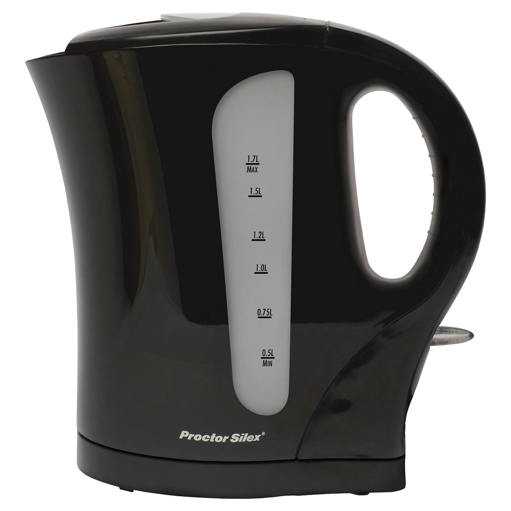 Proctor Silex Cordless Electric Kettle 1.7L - Black K4097 Proctor-Silex 1.7 Litre Cordless Electric Kettle (black) - K4097 Attractive kettles for quick, convenient boiling.Proctor Silex makes it easy to boil water with attractive, easy-to-use electric kettles. These convenient kettles utilize a rapid-boil system to heat up water quickly so you can enjoy tea, instant coffee, hot chocolate, and other hot beverages in minutes.Proctor Silex Kettles are essential kitchen appliances made for efficiency, with dual water windows for easy filling and an immersed heating element for easy cleanup. Built to last, these attractive and affordable kettles are durable enough for everyday use. Added functions include an on/off light, automatic shutoff, and boil-dry protection - great performance features you'll appreciate year after year. Size: 1.7L.