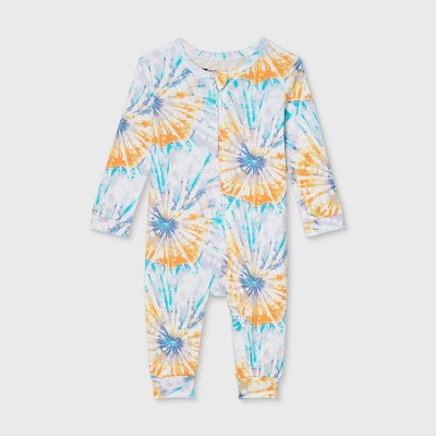 Baby Tie-Dye Print 100% Cotton Matching Family Pajamas Union Suit - Teal