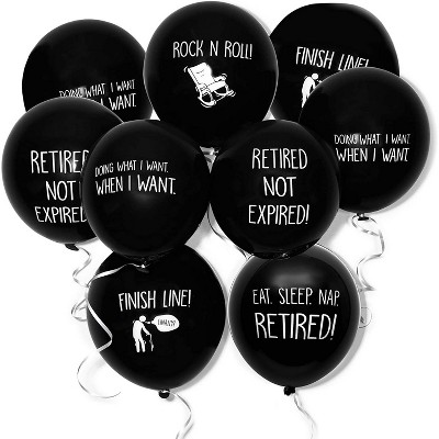 """Blue Panda 50-Pack Latex Balloons in Funny Retirement Sayings for Retirement Party Supplies and Decorations, 12"""" Black, Ribbon Included"""