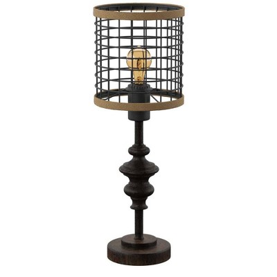 "20"" Metal Table Lamp with Caged Shade Black/Natural - StyleCraft"