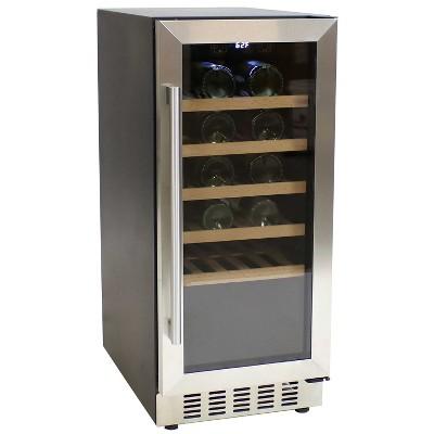 33-Bottle Stainless Steel Beverage Refrigerator with Wooden Shelves - Sunnydaze Decor