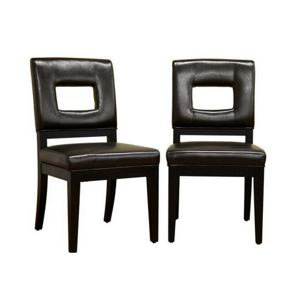 Set of 2 Faustino Leather Dining Chairs Dark Brown - Baxton Studio