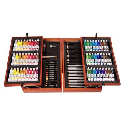 Craftabelle – Arts & Crafts Paint Set for Kids 117pc – Wooden Art Case