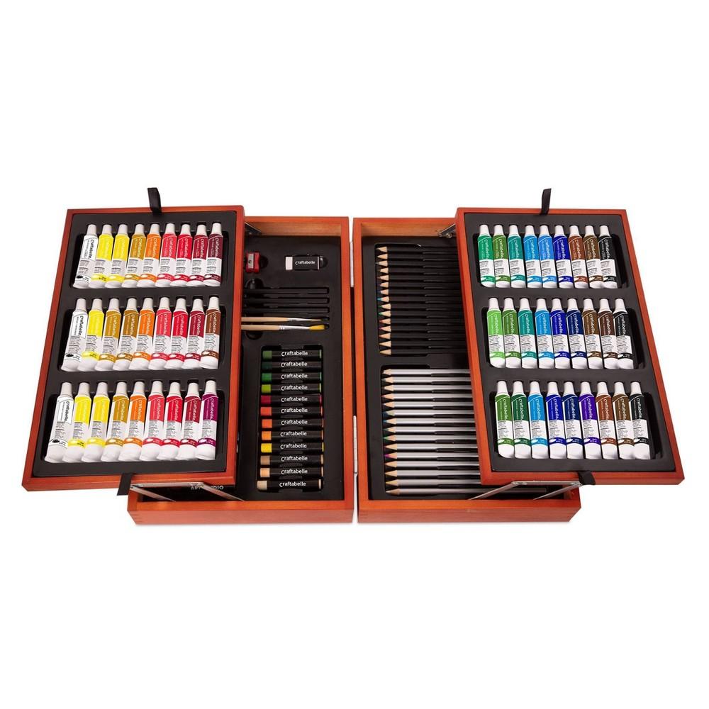 Craftabelle 8211 Arts 38 Crafts Paint Set For Kids 117pc 8211 Wooden Art Case
