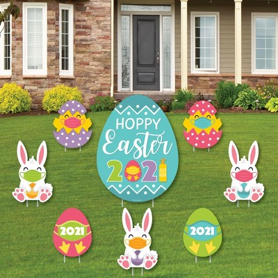 Big Dot of Happiness Quarantine Easter - Yard Sign and Outdoor Lawn Decorations - 2021 Egg and Bunny Party Yard Signs - Set of 8