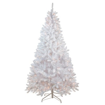 Northlight 7' Prelit Artificial Christmas Tree Flocked Snow White - Clear Lights