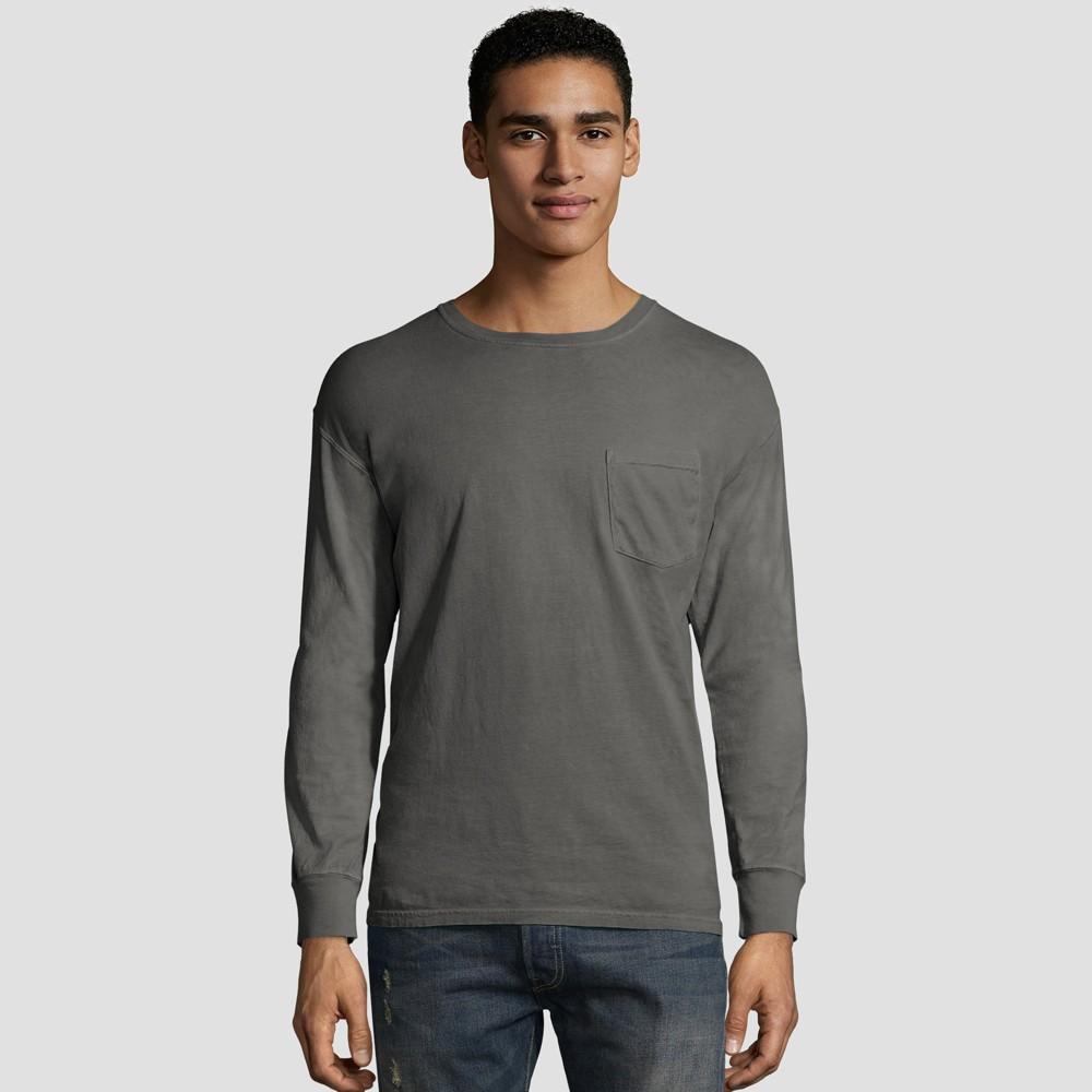Hanes Men S Long Sleeve 1901 Garment Dyed Pocket T Shirt Railroad Gray Heather Xl