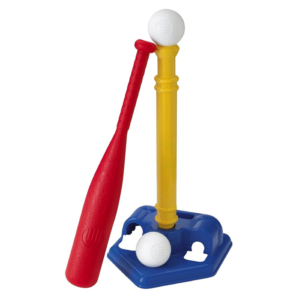 American Plastic Toys American Plastic Toys T-Ball Set Your child will feel like an all-star with this plastic toy T-ball set. This weatherproof set comes with a bat, 2 balls and an adjustable base for your little athlete to practice hitting balls from.