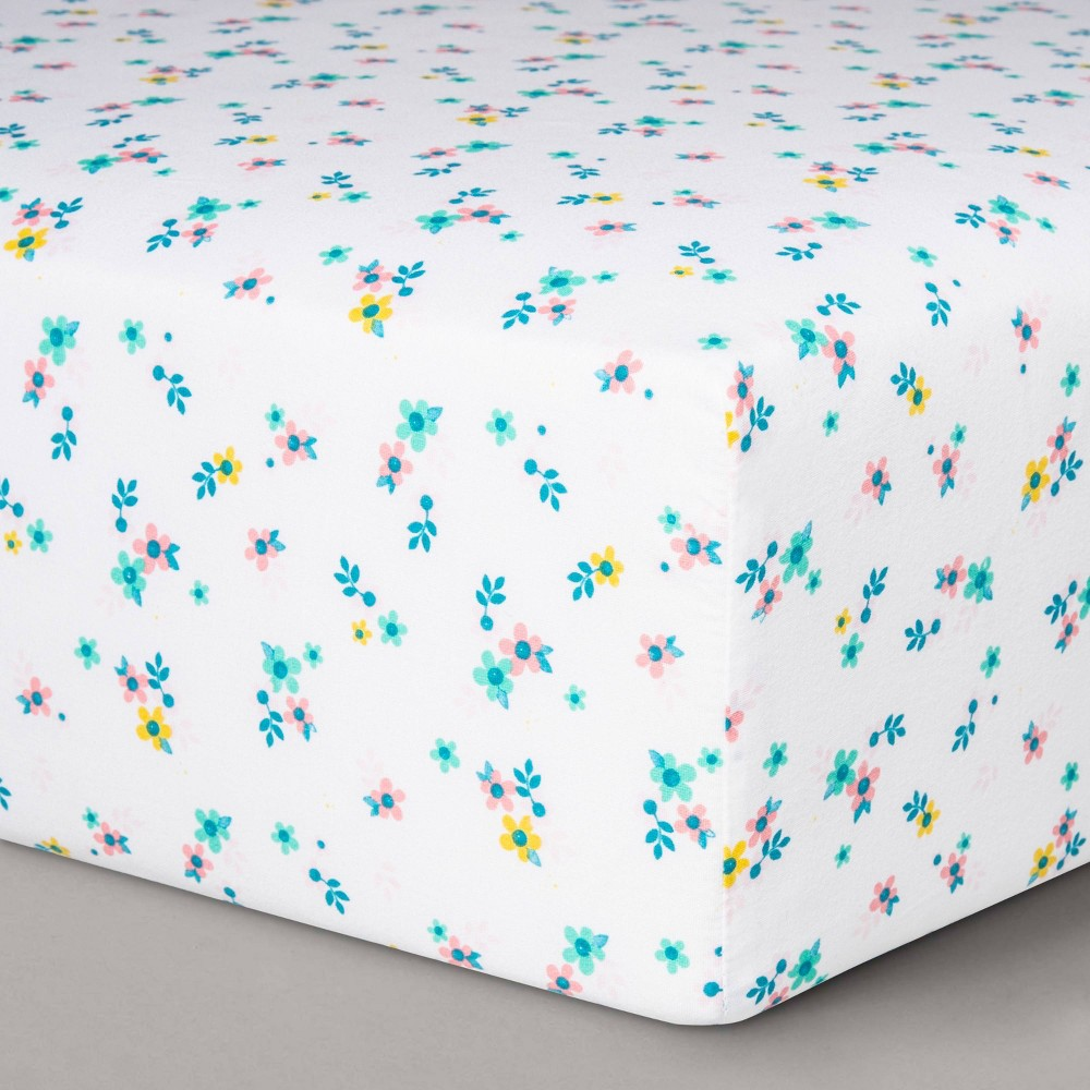 Fitted Crib Sheet Small Floral Cloud Island 8482