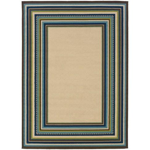 Cozumel Border Patio Rug Ivory/Blue - image 1 of 4