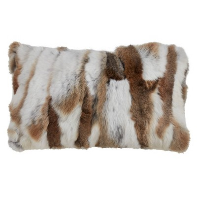 "12""x20"" Faux Fur Poly Filled Throw Pillow Natural - Saro Lifestyle"