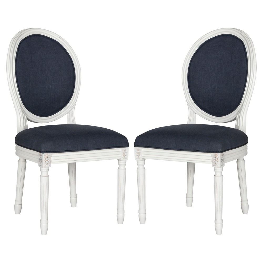 Holloway Oval Side Chair Wood/Navy (Blue) (Set of 2) - Safavieh